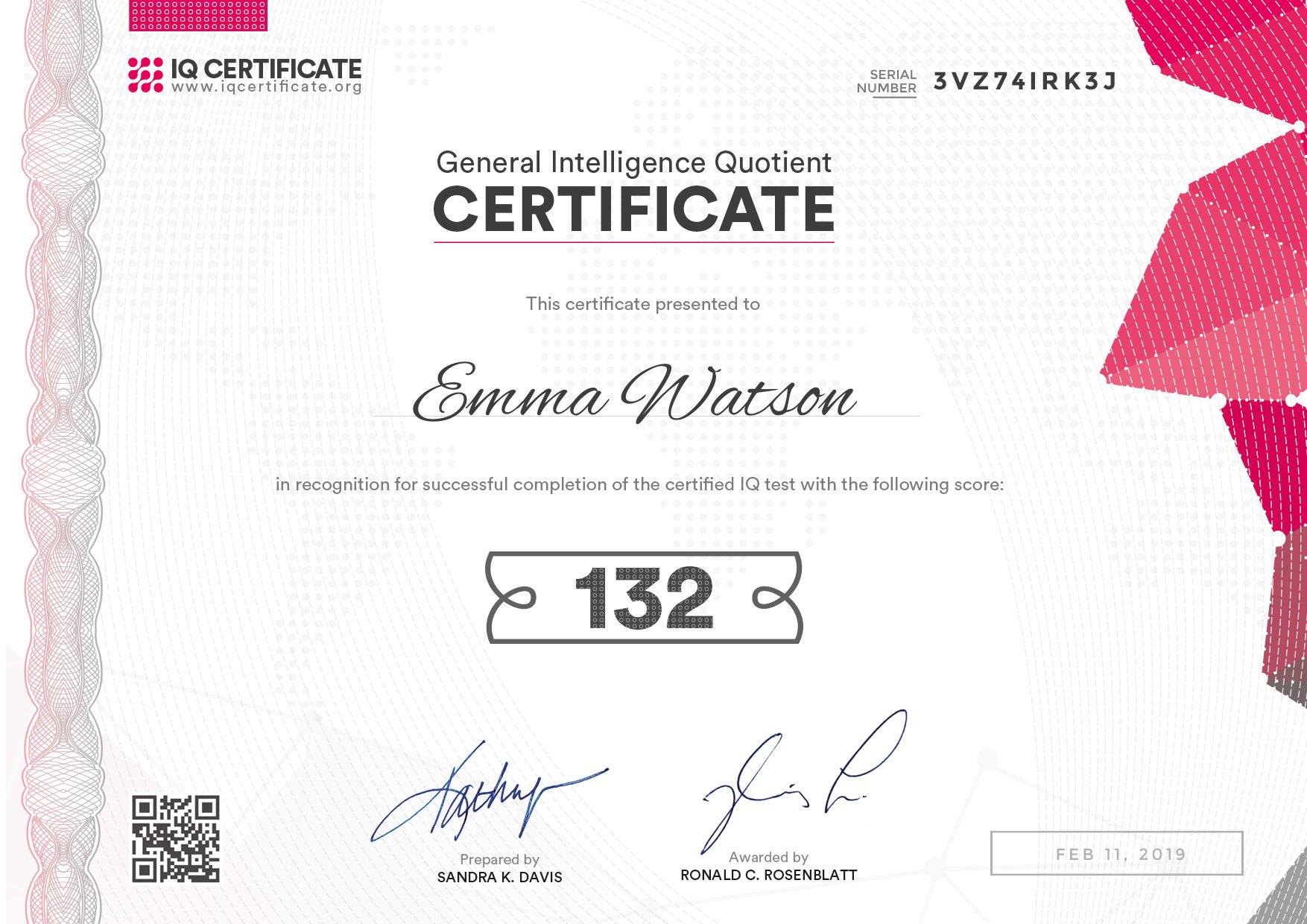 Sample IQ Certificate